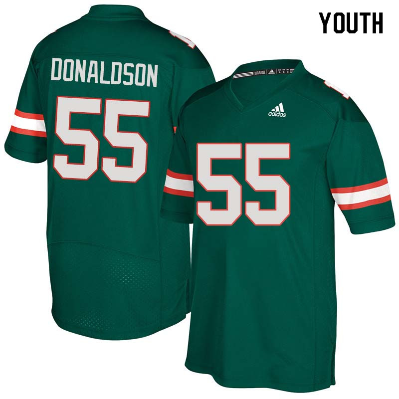 Youth Miami Hurricanes #55 Navaughn Donaldson College Football Jerseys Sale-Green